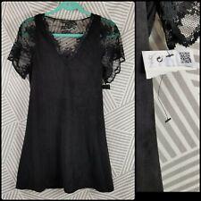 Zara Trafaluc Black Flutter Sleeve Lace Dress Womens Size Small Retail $89 slip
