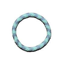 Mint Green and Grey Chevron Crocheted Beaded Bracelet, Seed Beads,Nepal