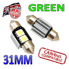 2 x 31mm Festoon Green Canbus LED Number Plate Interior 2 SMD Bulbs 269 Bright
