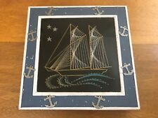 Vintage String Nail Art Boat Sailing Under the Stars Framed With Nautical Accent