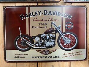 HARLEY Vintage Tin Bar Sign Motorcycle Man Cave Free Shipping 1949 Panhead