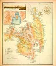 PHILIPPINE ISLANDS - MINDANAO - SURIGAO - DAVAO SAMAL 1899 Original Antique Map