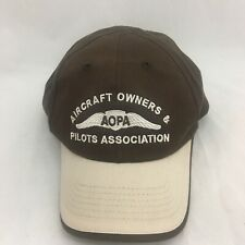 Aircraft Owners & Pilots Association Hat Brown Beige Baseball Cap