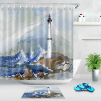 100% Polyester Fabric Oil Painting Seaside Lighthouse Shower Curtain Bath Mat