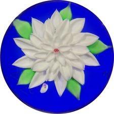Baccarat 1973 Flamework White Dahlia on Blue Glass Art Paperweight