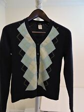 J.Crew 100% Lambswool Blue Argyle Thin 6 Button Cardigan Sweater - Size - Small