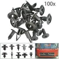 100pcs Black Plastic Push Rivet Trim Panel Fastener Clips Hole for Car