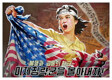 North KOREA DPRK Anti-American Propaganda Poster Print USA FLAG A3 + #NK006
