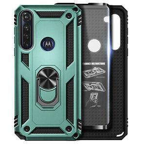 For Motorola Moto G Power 2020 Case Ring Stand Phone Cover with Tempered Glass