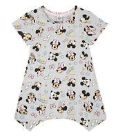 Girls Kids Official Disney Minnie Mouse Grey Short Sleeve T Shirt Top