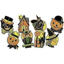 4 Beistle Halloween Double Sided Cutouts MIP 9 1/2 Inch Retro Designs