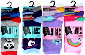 Kids Girls Boys Ankle Socks Children Pink Blue 3 Pair Character Colored Design