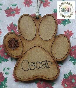 HANDMADE PERSONALISED PAWPRINT DOG CAT CHRISTMAS TREE BAUBLE ORNAMENT.WOODEN