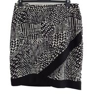 "YALY COUTURE Women's Black/White Patterned A-Line Skirt. Size UK 18. W36""."