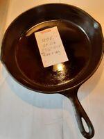 """Vintage Cast Iron Skillet SK 10 12"""" Dia 2.5"""" Deep Heat Ring Double Pour Spout"""