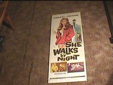SHE WALKS BY NIGHT 1960 INSERT 14X36 MOVIE POSTER BAD GIRL EXPLOITATION