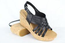 Kork-Ease Women's Adelanto Wedge Sandals Size 9 Black Leather K60203