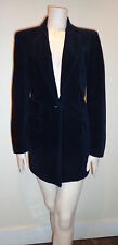ANNE KLEIN Black Corduroy fully lined fitted mid thigh length jacket blazer SZ 4