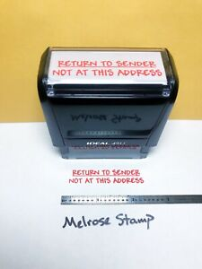 Return To Sender Not At This Address Rubber Stamp Red Ink Ideal 4913