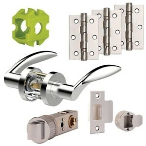 Jigtech CRESTA PRIVACY Door Handles Hinge Latch Pack Polished & Satin Chrome