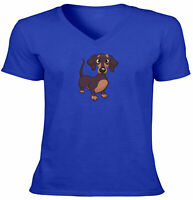 Puppy Cartoon Unisex Tee Vneck T-Shirt Mens Women Gift Print Cute Dachshund Dog