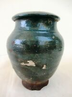 "Stunning Indian Dark Green Glazed Terracotta Planter Or Pot Vintage Decorative""F"