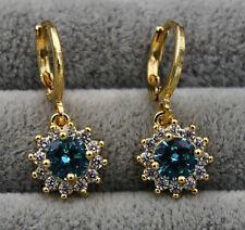 18K Yellow Gold Filled - Blue Topaz Sunflowe Gemstone Party Hoop Earrings 2.6CM