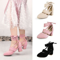 Women's Mary Jane Lace-up Ankle Strappy Pumps Block Mid Heel Casual Suede Shoes