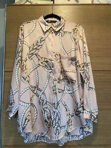 BNWT Zara Long Sleeve Chain Printing Pink Blouse Shirt size XL