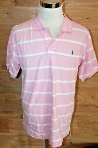 POLO RALPH LAUREN Men's Custom Fit Striped Polo Club Polo Shirt Men's XXL Pink