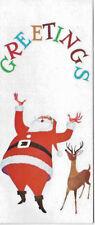 Vintage Happy Santa and Reindeer 1960 Christmas Card