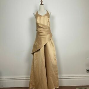 Mari Gourlay Women's Halter Neck Draped Gold Formal Ballgown Size 16