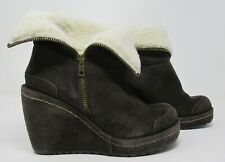 Rocket Dog size 5 (38) dark brown suede wedge ankle boots with shearing trims