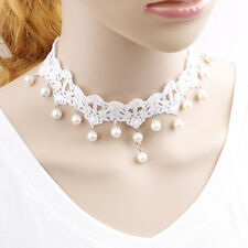 White Vintage Lace Chain Bridal Wedding Gothic Lace Necklace Party Ball Dress