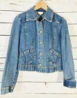 Ann Taylor Loft Jean Jacket Womens Sz 2 Cropped Denim Blue Coat Button Front