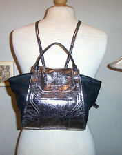New GUESS METALLIC PEWTER GRAY BLACK BACKPACK PURSE NWOT