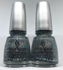 China Glaze Nail Polish LORELEI'S TIARA 1053 Sparkle Silver Blue Glitter Lacquer