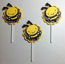 Bumble Bee Cupcake Toppers - Bumble Bee Happy Birthday Party Decor Handmade
