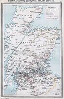 1907 Scotland Railways Map Northern England Aberdeen Railroads  ORIGINAL