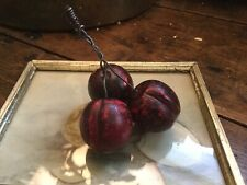 Vintage Italian Alabaster Marble Stone Red Cherries Wire Stems Realistic Lg Size