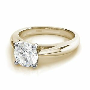 2CT Four Prong Cathedral Set Round Diamond Engagement Ring 9K Yellow Gold Over