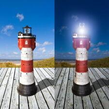 50 cm Gartendekoration Solar-Leuchtturm ROTER SAND+LED-Beleuchtung Solarleuchte