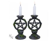 Nemesis Now Gothic Set of 2 Wiccan Pentagram Candlesticks Candle Holders Decor