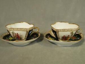 PAIR ANTIQUE RICHARD KLEMM DRESDEN QUATREFOIL BLACK TEA CUPS & SAUCERS - COUPLES