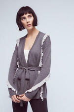 NEW Anthropologie Ruffle-Wrapped Cardigan by Sparrow, Gray, Size SP (Orig. $128)