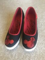 Disney Black Canvas Shoes With Red Sequin Ears, Size 7