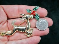 Vintage-1960's Gold Tone XMAS Reindeer w/Holly Brooch/Pin