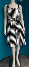 Anne Klein Black & White Stripe Fit & Flare Dress Sz 6