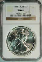 1989 American Eagle .999 Pure Silver Dollar / NGC MS69 / Beauty