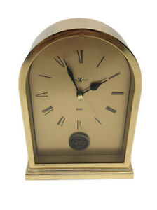 VINTAGE Brass Gold Howard Miller COCA-COLA Quartz Desk Clock Company Premium